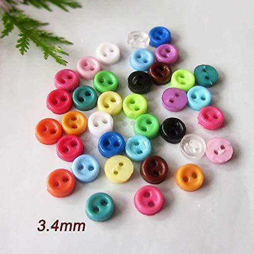 TTYAC ¡Nuevo!Botones minúsculos de 3 mm 144 piezas mixtas / 1 Color Mini borde Delgado botones para elaborar 17 Colores para confeccionar ropa de muñecas suministros de costura, 12 transparentes