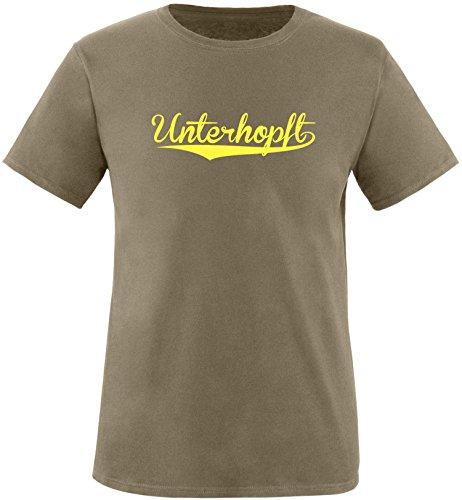 EZYshirt® Unterhopft Herren Rundhals T-Shirt Oliv/Gelb