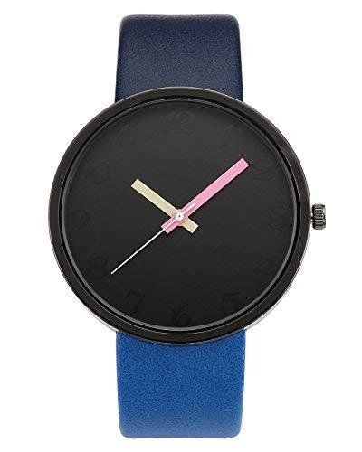 Armbanduhr Minimalist Kontrastfarbe Studentenuhr PU Lederarmband Analog Quarzuhr Dunkl-Hell Blau ()