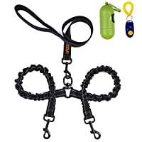 U-picks Double Dog Lead,Dual Pet Dog Leash Reflective Bungee Absorb Shock 360°No Tangle for Two Dog Walking/Training with Extra Dog Trainer and Garbage Bag&Collector for Medium/Large Dog