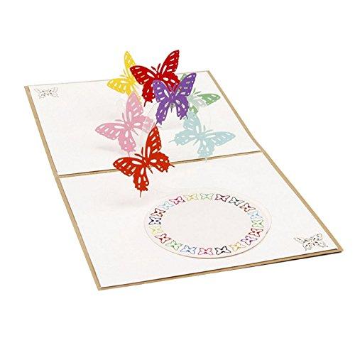 Umschlag, 3D Rainbow Butterfly Pop Up Frohe Weihnachten Grußkarte Geburtstag Neues Jahr Einladung Papier Karten handgefertigt Craft Geburtstag Mutter Vater Tag Weihnachts Graduation 13,4* 15,5cm (10 Brief Halloween-wort)