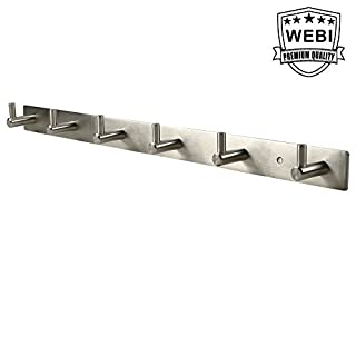 WEBI Sturdy SUS 304 Coat Hook Towel Rack Hanger With Rail Bar, 6 Hooks, for Bedroom, Bathroom, Foyer, Hallway, Entryway, Great Home, Office Storage & Organization, Brushed Finish, L-YZ06