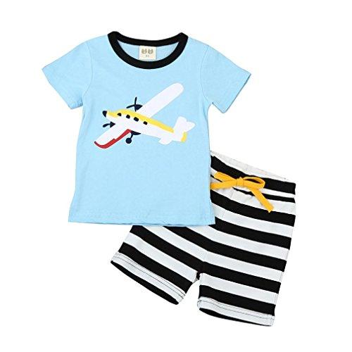 Kostüme Cat Kleinkind (Kleinkind Kinder Junge T-Shirt Gestreift Hose Outfit Hirolan (120cm,)