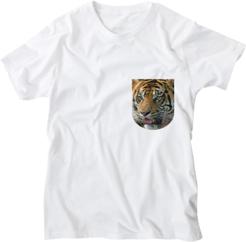 Mister Merchandise White Design Herren T-Shirt Breast Pocket Tiger Weiß