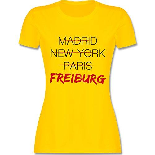 Shirtracer Städte - Weltstadt Freiburg - Damen T-Shirt Rundhals Gelb