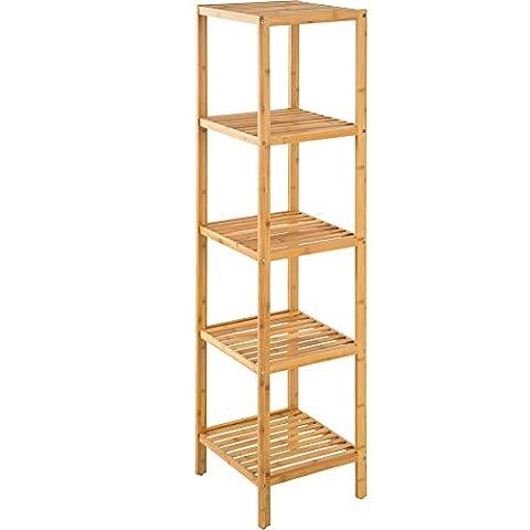 TecTake Étagère debout 5 niveaux salle de bain bois de bambou 33x33x147cm