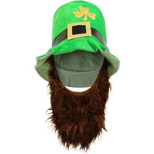 Sofias Schrank Herren St. Patricks Day Luck Paddys Kobold-Hut befestigt mit Bart, Kleeblatt, Grün (Grüne Gnome Hat)