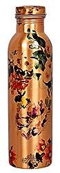 IndianArtVilla Printed Flower Design Copper Bottle, Storage Water & Travelling Purpose, 1000 ML, Brown