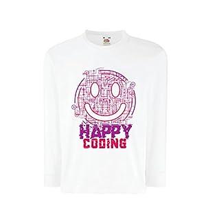 T-Shirt Bambini/Ragazze Happy Coding - Faccina Sorridente, Emoji Divertente Regalo Perfetto per Il Giocatore o Supporto Tecnico IT (9-11 Years Bianco
