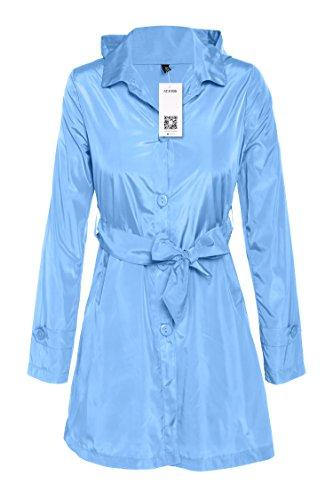 hundeinfo24.de ACEVOG Damen Regenjacke Regenmantel mit Kapuze Wetterschutzjacke Winddicht Wasserdicht Atmungsaktiv Lang Outdoor Jacket Blau Gr. 42-44