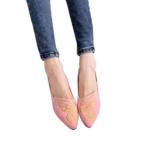 Turnschuhe Schuhe Frauen, Damen Ballerinas Wohnungen Stickerei Schmetterling Wildleder Schuhe Freizeitschuhe Soft Slip-On Lässige Schuhe Retro wulstige gestickte Schuhe (CN:40/EU:39, Charmant Rosa)
