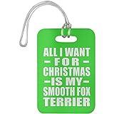 Designsify All I Want for Christmas is My Smooth Fox Terrier - Luggage Tag Kelly/One Size, Gepäckanhänger Reise Kreuzfahrt Koffer Gepäck Kofferanhänger, Geschenk für Geburtstag, Weihnachten