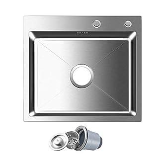 AuraLum 55cm45cm22cm Küchenspüle aus Gebürstetem Edelstahl 2 Montagelöcher:35mm &28mm 1 Becken Einbauspüle mit Überlauf kein Blei Umweltschutz, Plattendicke:3MM