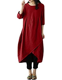 Kleider SANFASHION Damen Frauen Maxikleid Vintage Langarm Tunika Baggy Long… a2e40b8114