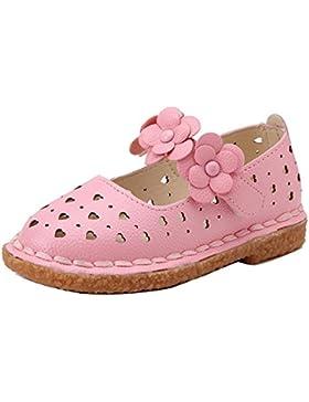 Gaorui-Corazón Flores Zapatos de Piso para Niñas Sandalias con Punta Cerrada para Primavera y Verano