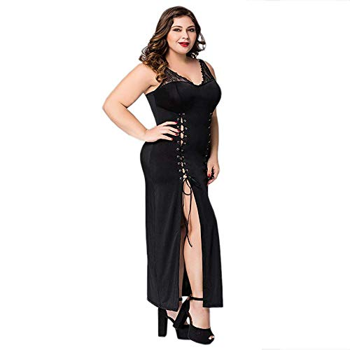 (YSWA Große Größe Frauen Langer Rock Ärmelloses Nachthemd Frauen Sexy Dessous Hot Erotic Bandage Sommer Sleepwear Porno Kostüme)