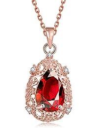 """'""""Egypt Queen"""" Ciondolo placcato oro rosa 18 K, con zirconia cubica, rubino, collana alla moda per donne, 45,7 cm + 6,3 cm di estensione."""
