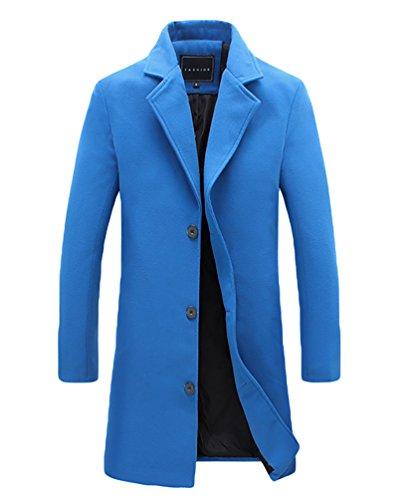 YiJee Herren Mantel Reverskragen Jacke Übergröße Winterjacke Blau mit Samt 5XL