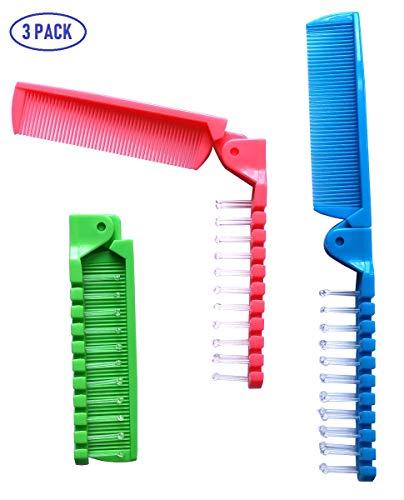 Fontee® 3 Stück Kleine Faltbare Haarbürste, Haarbürste Reise Massagekopfbürste und Feiner Zahnkamm, Taschenkamm für Kinder und Erwachsene, 3 Farben