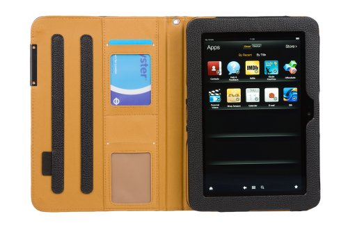 """Juppa® Executive Leather Wallet Case with Stand Feature, Card Holding Slots, Screen Protector, Carry Strap and Stylus Pen for Amazon Kindle Fire HD 8.9"""" Inch (Black)"""