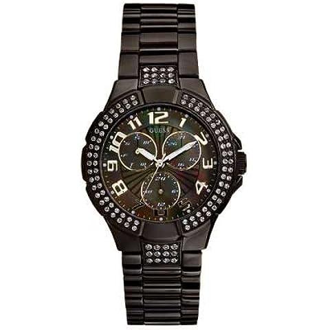 Guess Sport Steel - Reloj analógico de mujer de cuarzo con correa de acero inoxidable negra - sumergible a 30