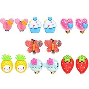 7 Paar Princess Clip Ohrringe Set für Kinder Mädchen