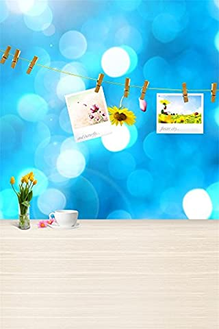 Aaloolaa Photography Backdrops Photo Background Sweet Picture Rope Banner Bokeh Wall Flower Vase Cup Wood Floor Girl Lovers Baby Kid Child Portrait Scene Props for Video Shooting Studio 3x5ft