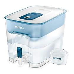 BRITA Wasserfilter Flow inkl. 1 MAXTRA+ Filterkartusche - XXL Tischwasserfilter mit Zapfhahn zur Reduzierung von Kalk, Chlor und geschmacksstörenden Stoffen