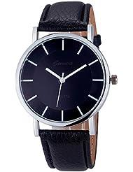 vovotrade La mujer chica Lide banda de cuero relojes de cuarzo analogico reloj de muñeca de Negro