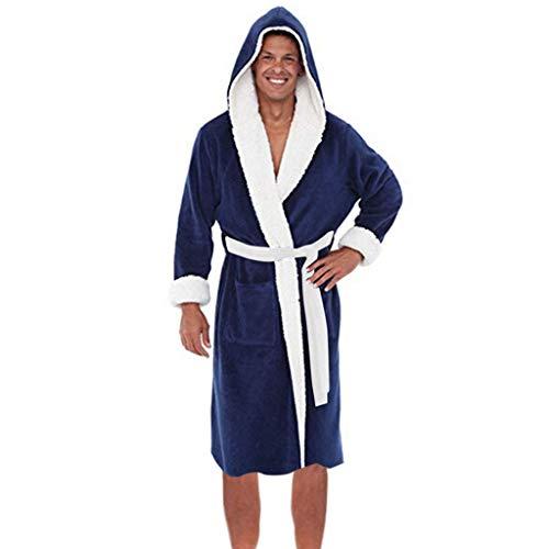 Longra Taglie Forti Uomo Accappatoio in Caldo Pile con Cappuccio Kimono Vestaglia Lunghe Invernale Bathrobe Nightgown Sleepwear Accappatoi E Vestaglie Pigiami