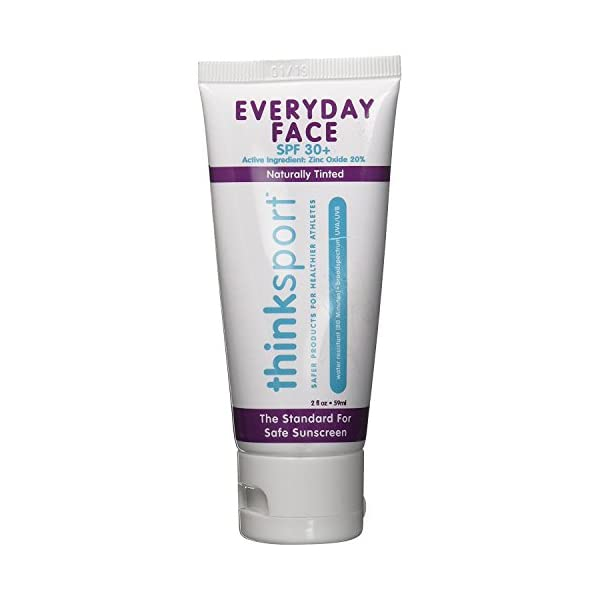 THINKSPORT – Everyday Face Sunscreen, Naturally Tinted, Currant – 2 fl. oz. (59 ml)