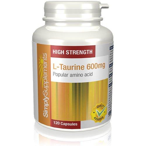 L-Taurina 600mg Extra Forte|Aiuta ad aumentare la massa muscolare e ad accrescere la resistenza|120 Capsule SimplySupplements