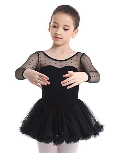 Langarm Trikot Schwarz Mädchen Kostüm - Freebily Kinder Mädchen Ballettanzug mit Tutu