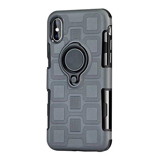 JINXIUCASE Handyhülle Fall, Armour Dual Layer 2 in 1 Schutzhülle mit drehbarem Fingerring Halter Ständer passend für magnetische Auto Halterung für iPhone X/XS (Farbe : Grau)
