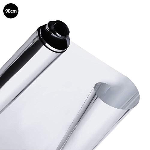 Xiangpian183 Spiegel-Fensterfolie, silberfarben, solarbetrieben, reflektierend, Einweg-Spiegel, UV-Schutz, Hitzekontrolle, Sichtschutz, Dekoration, für Zuhause, Silber, 90 * 200cm