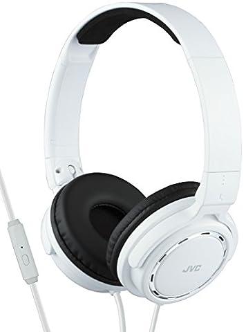 JVC HA-SR525 Casque Stéréo – on-ear avec télécommande et microphone blanc