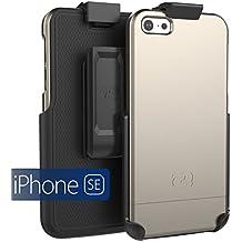 iPhone SE Holster Belt Clip Case, (SlimSHIELD Series) Ultra Slim Hybrid Shell + Durable Protection (Apple iPhone SE 5 5S) (Metallic Gray)