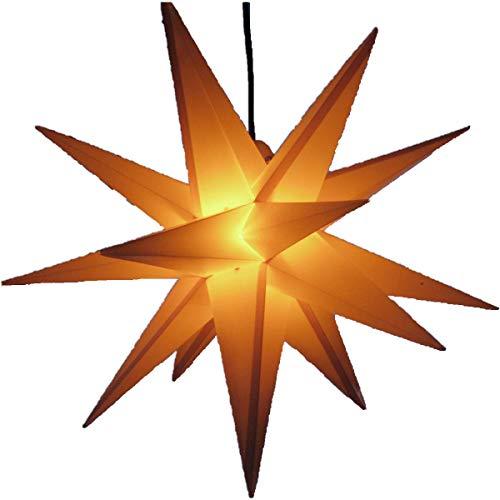 Außenstern gelb - beleuchteter Stern 55-60 cm Adventsstern Weihnachtsstern Leuchtstern Faltstern wetterfest -