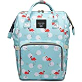 House of Quirk Baby Diaper Bag Maternity Backpack (Light Blue Flamingo)