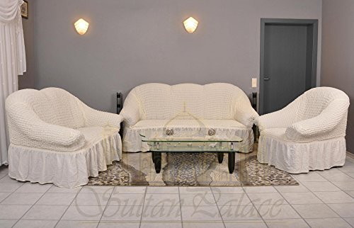 Sofaueberwurf elastisch / 3 Sitzer bezug / aus Baumwolle & Polyester in creme. Sofabezug / Stretch Husse / Sofa Bezug / Sofabezuege / Sofa Husse / Husse / Hussen