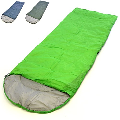 Nexos Schlafsack Alpa 200x70 cm Kapuze hellgrün 12-22°C 170T Polyester Füllung 200 g/m² 1 kg Zelten Wandern Decke Schlafsackhülle