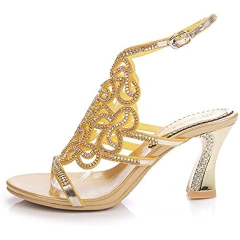 CBIN&HUA Rhinestone sandalias peeptoe boda novia de las mujeres sandalias zapatos de fiesta de noche , gold , 39