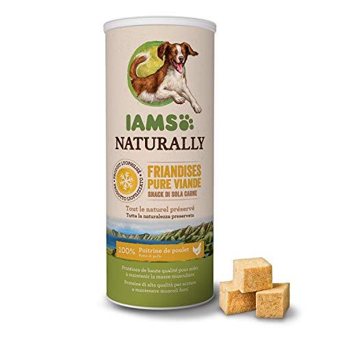 IAMS Naturally Friandises 100 % viande de poulet Qualité nutritionnelle et goût préservés pour chiens Faible en graisses Sans : Céréales, OGM, sucres ajoutés, colorant, conservateur - Tube de 50g