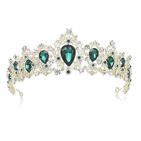 SWEETV Luxus Haar-Zubehör Kristalle Krone Strass Diadem Braut Tiara Haarzusätze Schmuck Krone für Hochzeit Festzug Prom, Hell (Grüne Braut Schmuck)