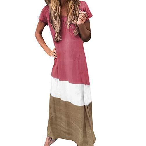 SUCES Maxikleid Mode Farbblock Patchwork Tunika Tshirt Kleid Damen Sommer Rundkragen Kurzen Ärmels Strandkleid Lange Kleider Oversize Freizeitkleid Täglichen Kleid Beachwear