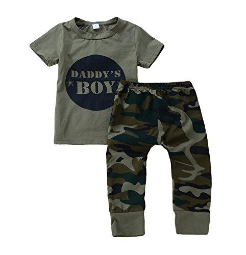 Anywow 2 stücke Säugling Kleinkind Baby Jungen Mädchen Brief T-Shirt Tops Camo Hosen Böden Kleidung Set Boy Set