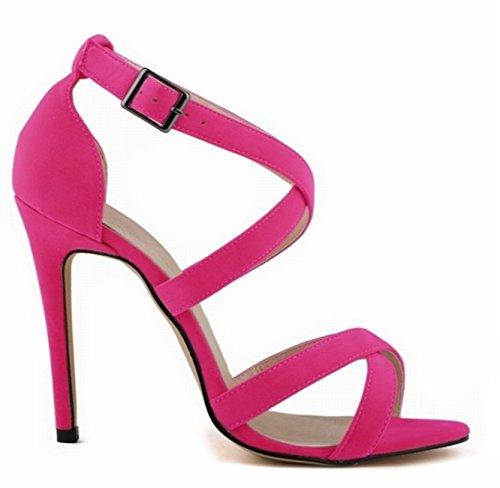 ANGATRADE - Sandales BRETELLES, Sandales femme haut talon, Sandales de soirée, Sandales mode 2016, Chaussures confortable, Sandales de Gala - Sandales BRETELLES Rose
