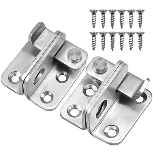 2 pezzi scrocco per porta, 45x44mm bullone serratura, acciaio inossidabile chiavistello porta legno con foro lucchetto per cancello, finestre, camera da letto, armadio (destra e sinistra aperte)