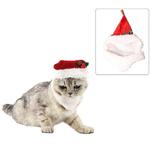 Lager Show Pet Cat Weihnachten Santa Kostüm Hat Katze Hund Weihnachts Hat mit Weiß Schnurrbart und Jingle Bell Ornament für Katze/Kätzchen/Kitty/Welpen, Rot (Weiß Schnurrbart Kostüm)