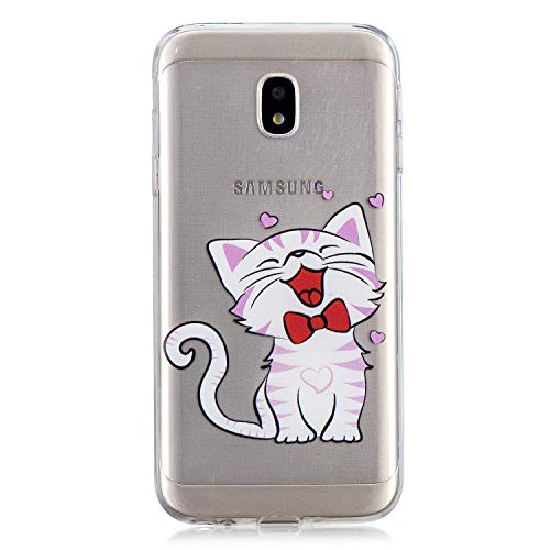 Herbests Handy Tasche für Samsung Galaxy J3 2017 Silikon Hülle Durchsichtige Schutzhülle Crystal Clear Transparent Ultra Dünn Handyhülle Silikonhülle Kristall Klar TPU Bumper,Niedlich Katze